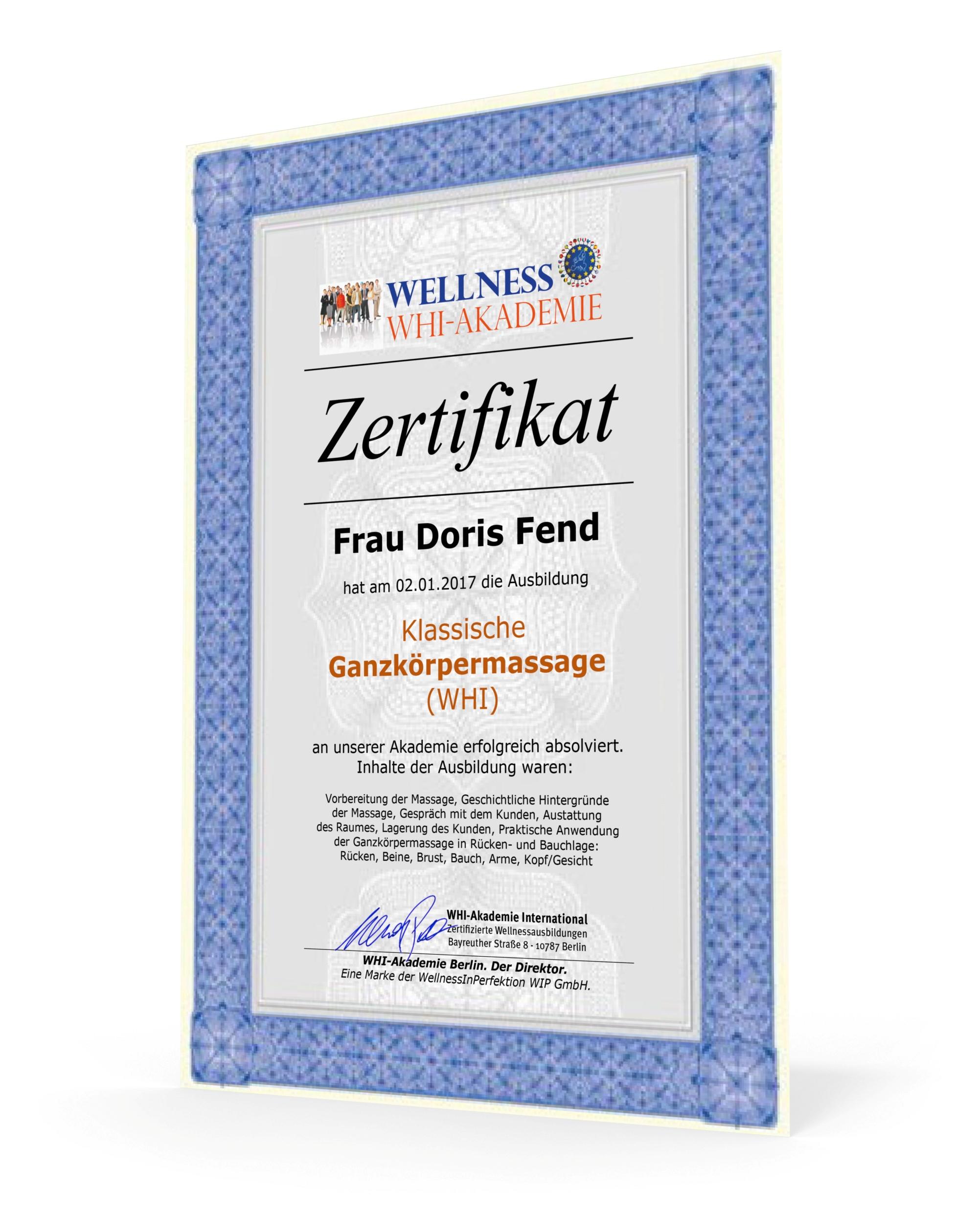 Das WHI-Zertifikat - Nationale & Internationale Anerkennung - WHI